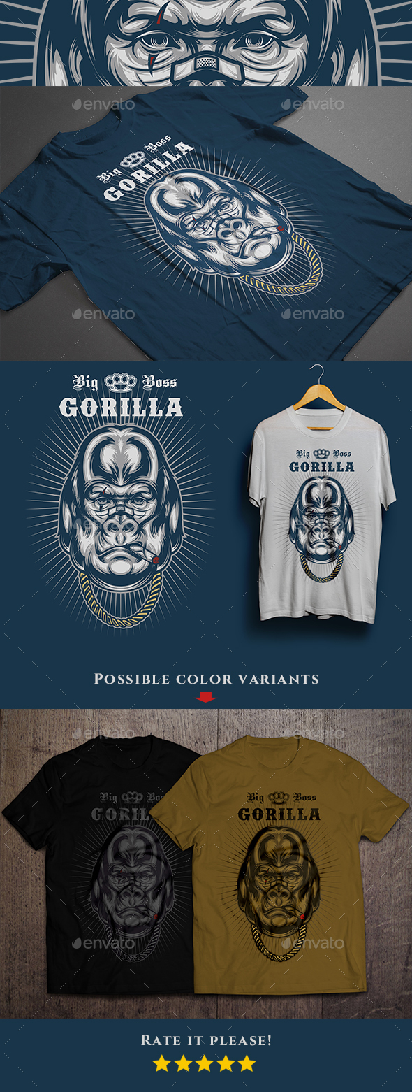 Big Boss Gorilla T-shirt - Funny Designs