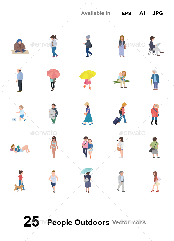 People Outdoors Vector Icons - People Characters