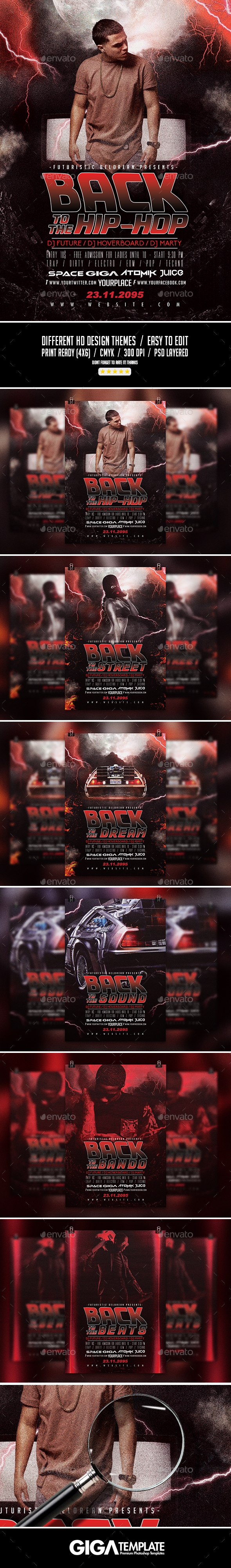 Back To The Future | 6 Flyers in 1 Conceptual Modern PSD Template - Events Flyers