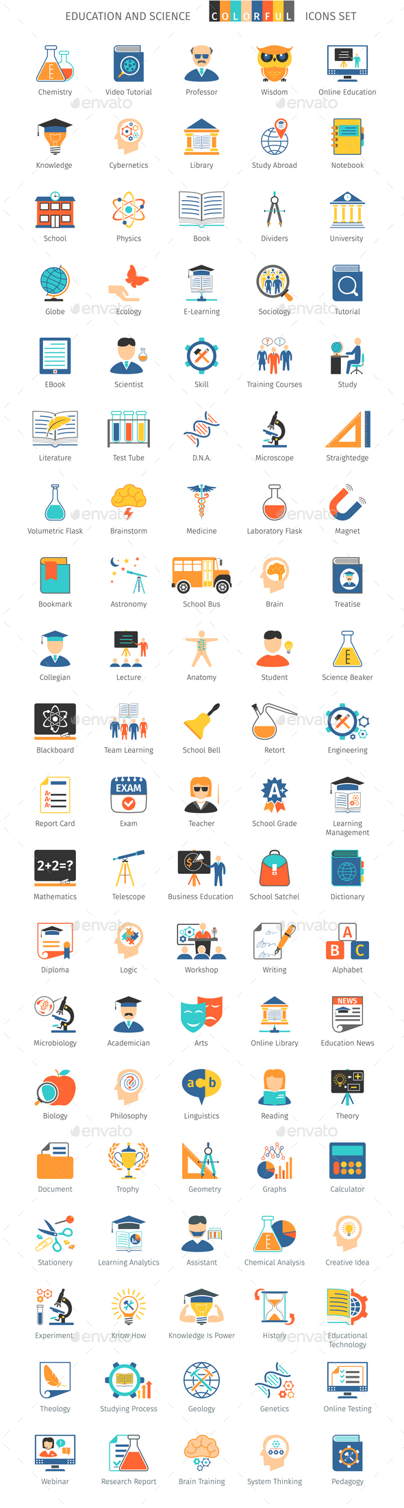 Education and Science Colorful Icons - Icons