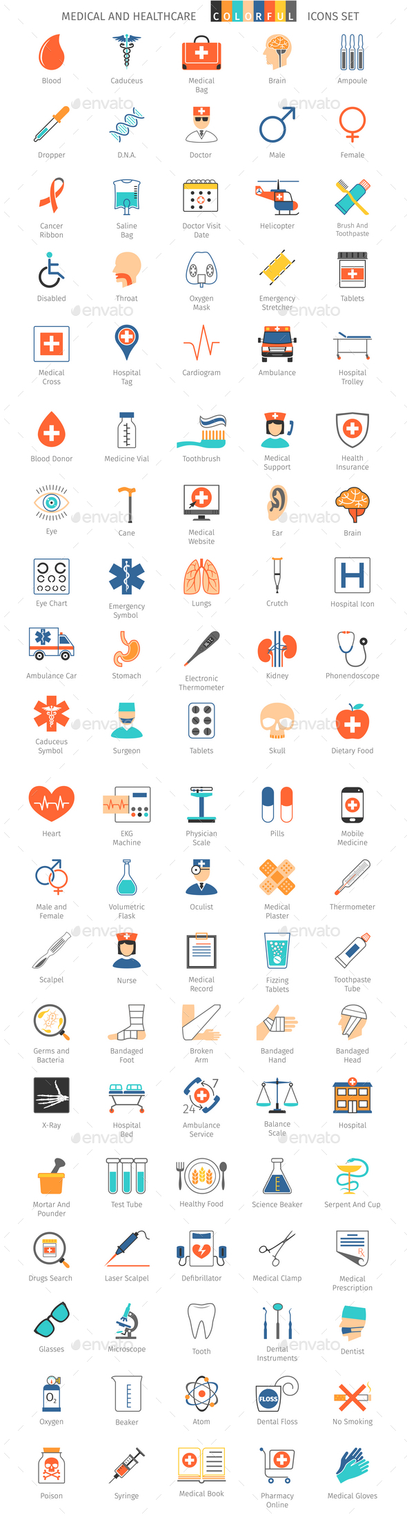 Medical And Healthcare Colorful Icons - Icons