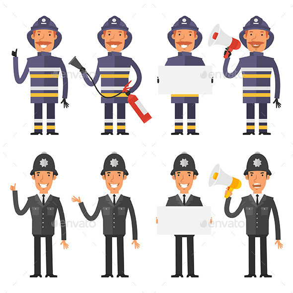 Policeman and Firefighter - People Characters