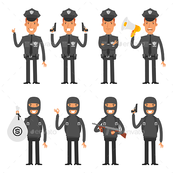 Policeman and Offender - People Characters