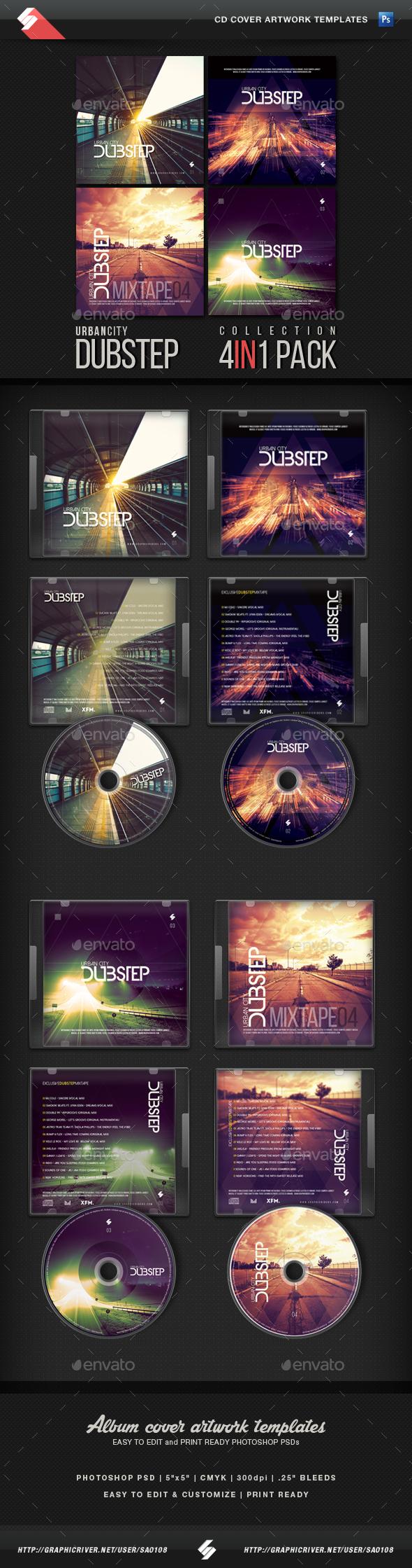 Urban City Dubstep - CD Cover Templates Bundle - CD & DVD Artwork Print Templates