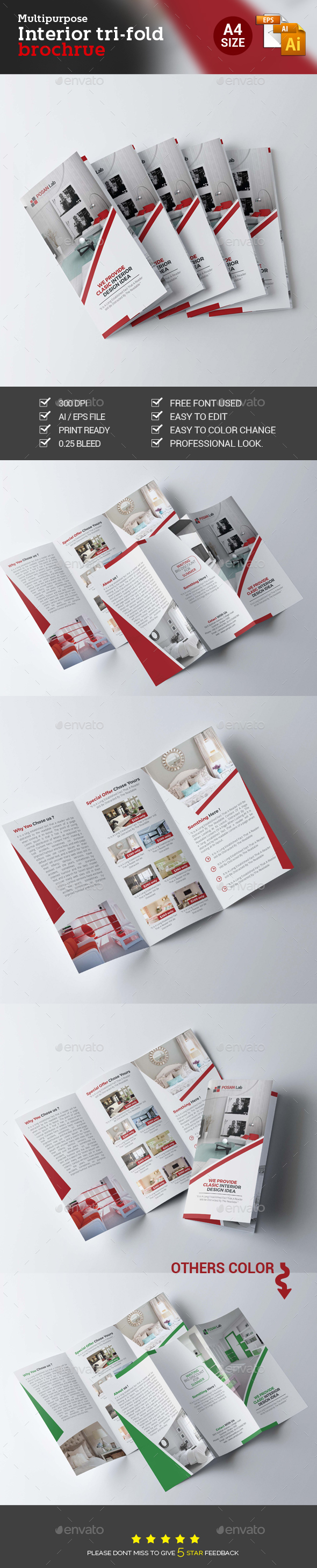Interior Trifold Brochure - Brochures Print Templates