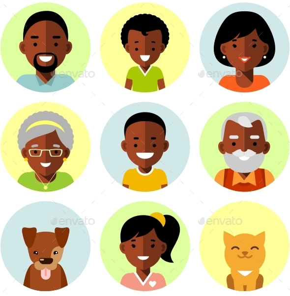 African American Family Icons - People Characters