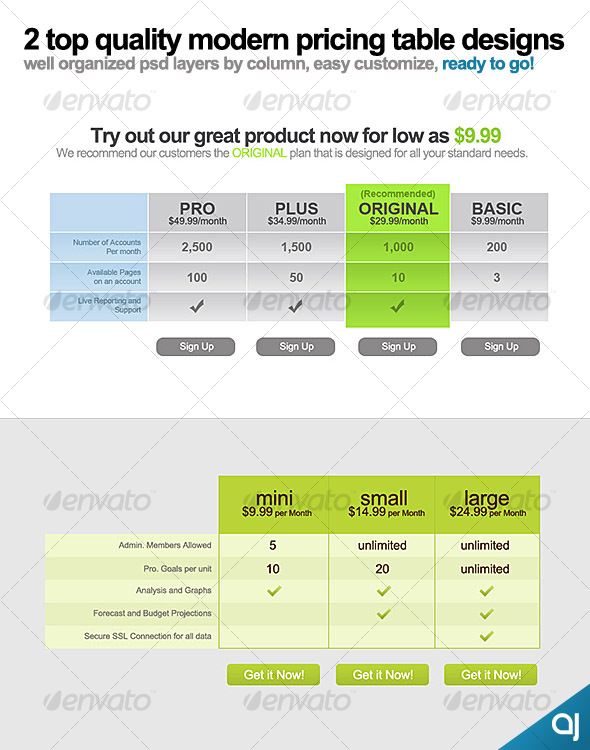 2 top quality modern pricing tables - Web Elements