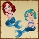 Two Mermaids With Positive And Negative Emotion