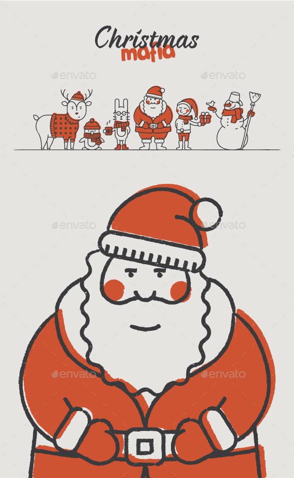 Christmas Mafia Hand-Drawn - Christmas Seasons/Holidays
