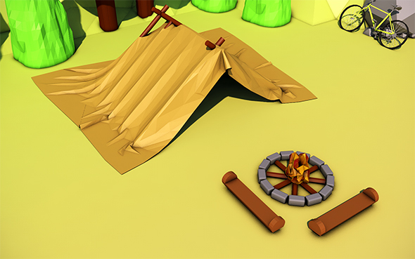 Low Poly Camp - 3DOcean Item for Sale