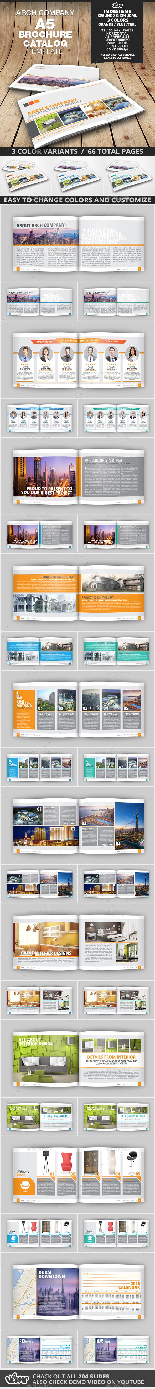 A5 Arch Company Brochure Catalog Template - Catalogs Brochures