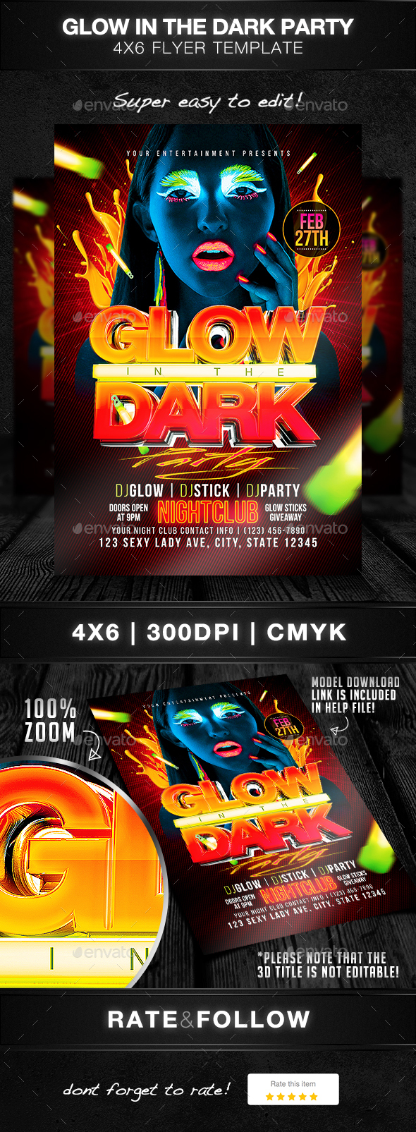Glow In The Dark Party Flyer Template by DesignsByDior | GraphicRiver