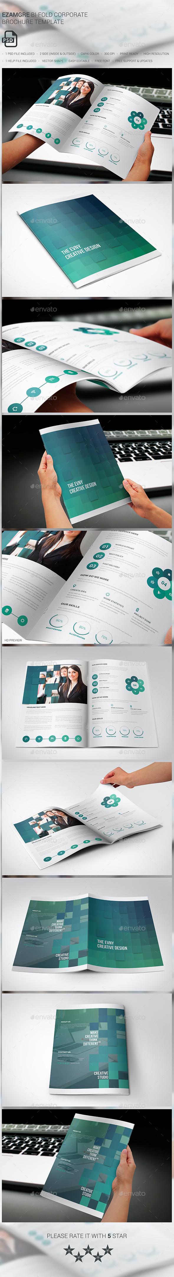 Ezamgre Corporate Bi-fold Brochure - Brochures Print Templates