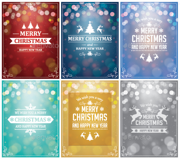 Set of 6 Christmas Backgrounds with Typography - Christmas Seasons/Holidays