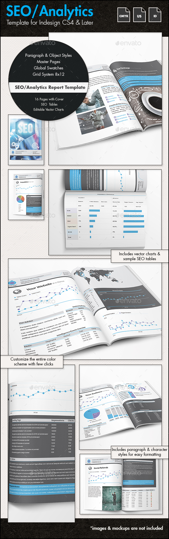 SEO Analytics Report / Proposal Template - US - Proposals & Invoices Stationery
