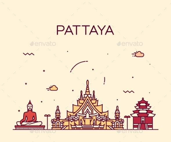 Pattaya Trendy Vector Illustration Linear Style - Travel Conceptual