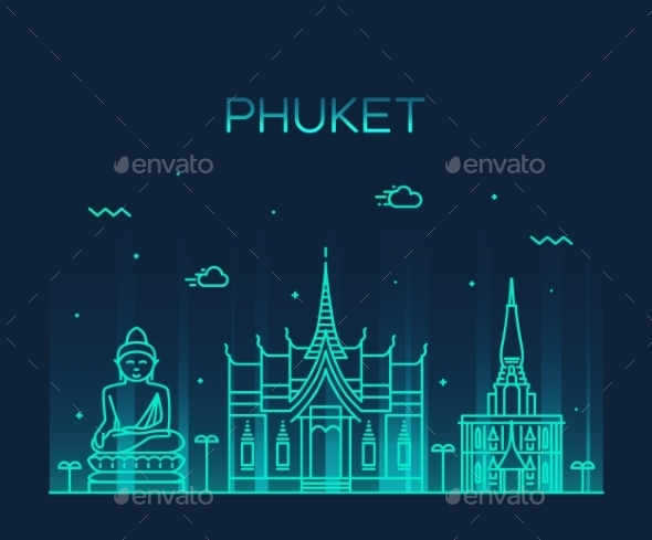 Phuket Trendy Vector Illustration Linear Style - Buildings Objects