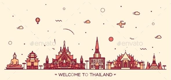 Skyline Thailand Vector Illustration Linear Style - Religion Conceptual