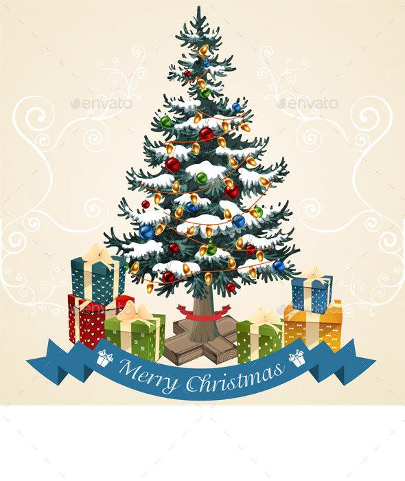 Christmas Tree with Balls, Garland and  Gifts  - Christmas Seasons/Holidays