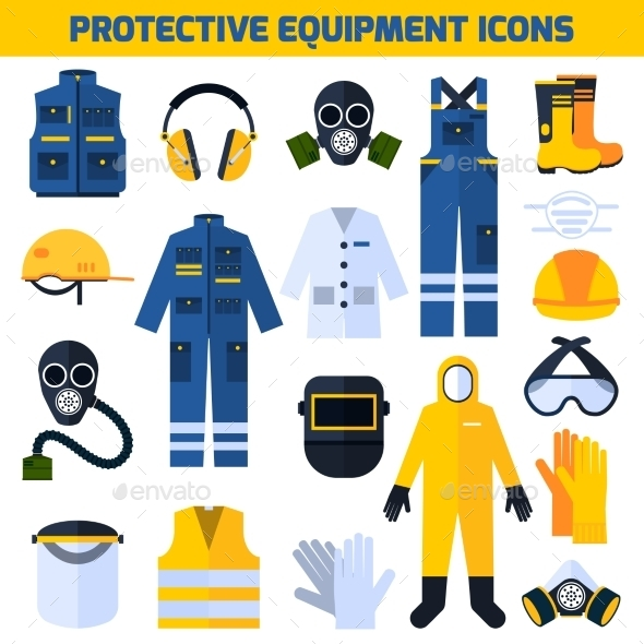 Protective Uniforms Equipment Flat Icons Set - Man-made Objects Objects