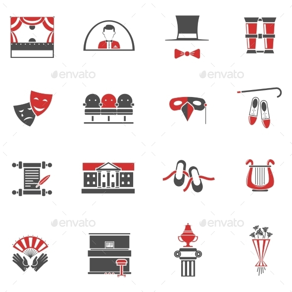 Theatre Red Black Icons Set  - Abstract Icons