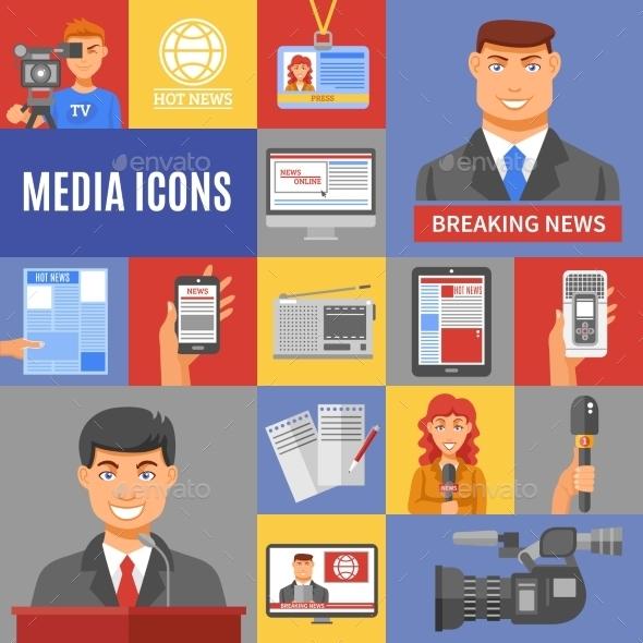 Journalism Icons Set - Communications Technology
