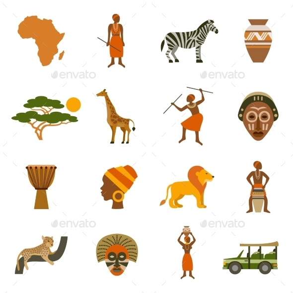 Africa Icons Set - Characters Icons