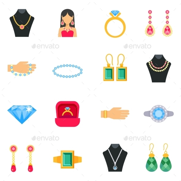 Jewelry Icons Set  - Man-made objects Objects