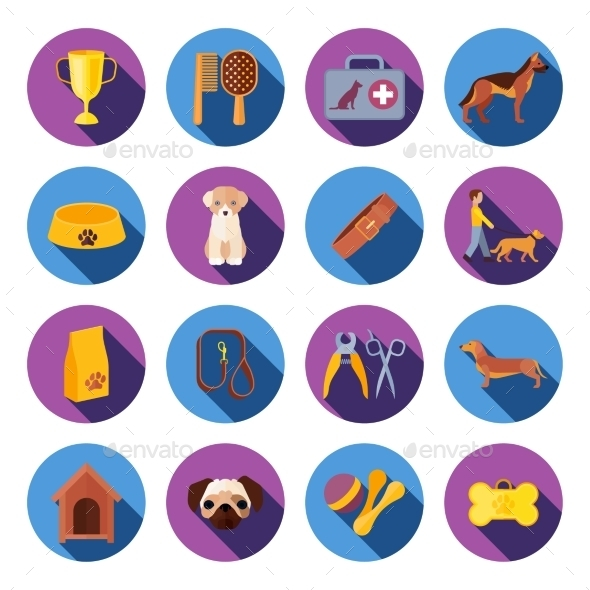 Dogs  Round Flat Icons Set - Animals Characters