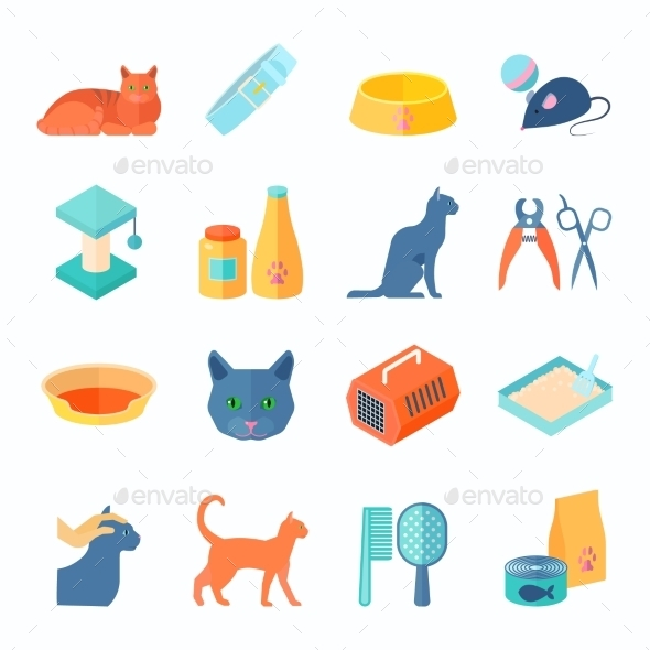 Healthy Indoor Cat Flat Icons Set - Animals Characters