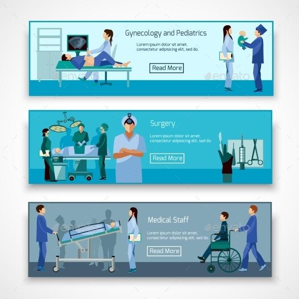 Medical Professionals at Work Banners Set - Health/Medicine Conceptual