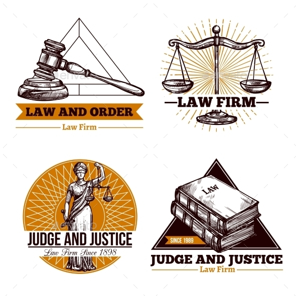 Legal Firm and Office Logo Set - Decorative Symbols Decorative