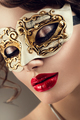 Beauty model woman wearing venetian masquerade carnival mask at - PhotoDune Item for Sale