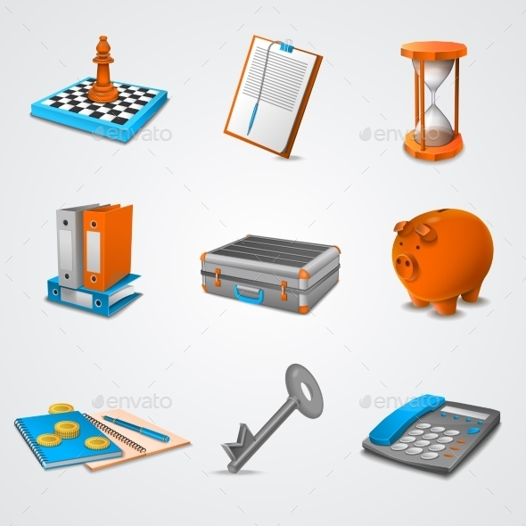 Business Realistic Icons - Man-made Objects Objects