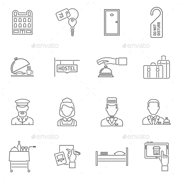Hotel Icons Line Set - Abstract Icons