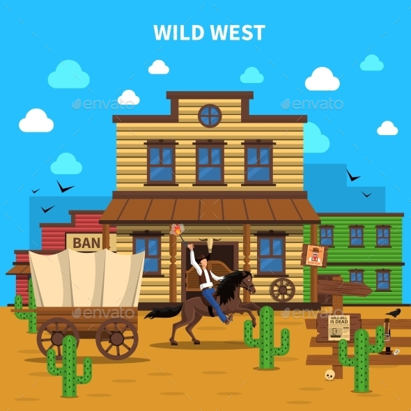 Cowboy Background Illustration - Backgrounds Decorative