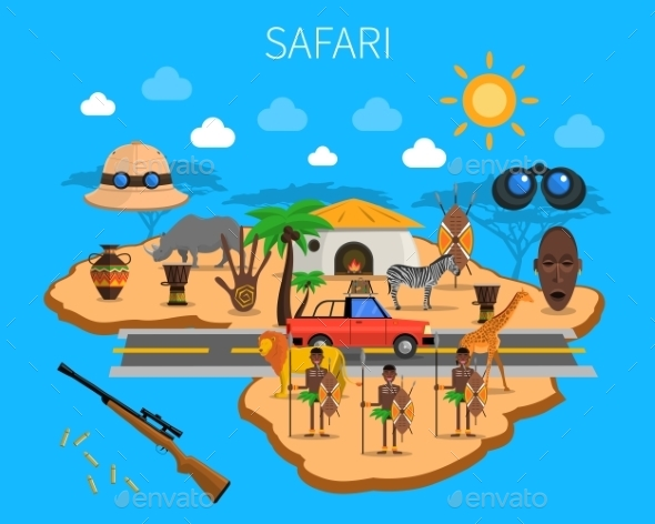 Safari Concept Illustration - Animals Characters