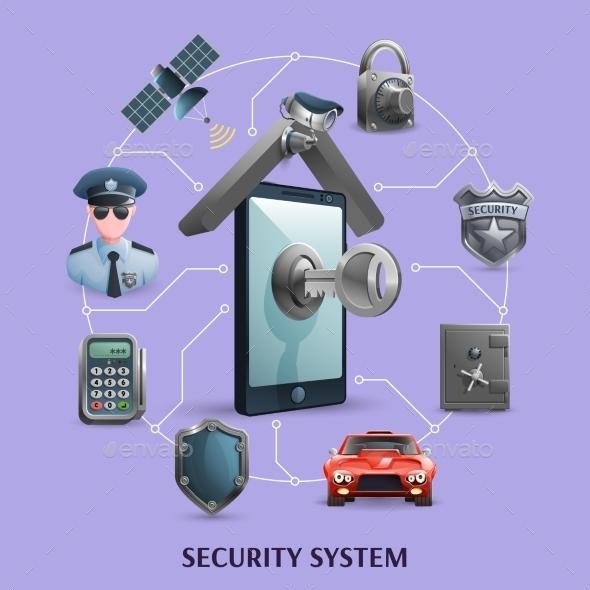 Security System Concept Set - Decorative Symbols Decorative