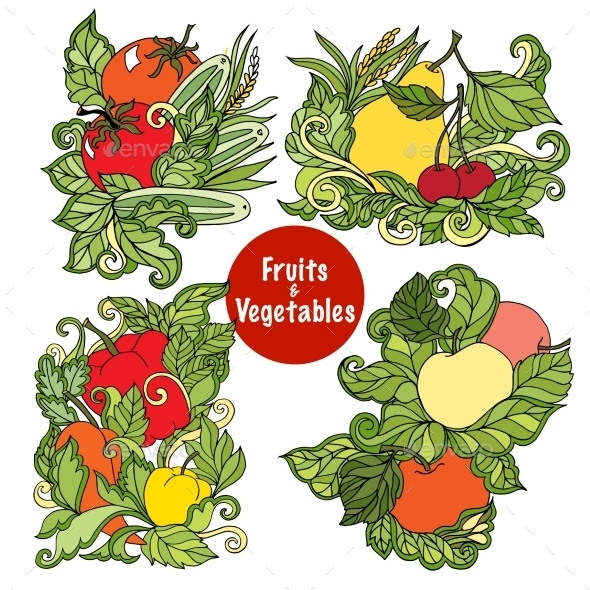 Ornamental Fruits and Vegetables Compositions Set