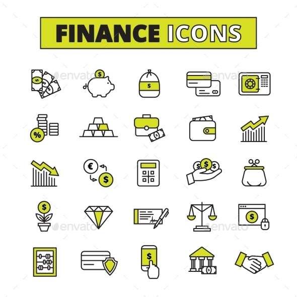Finance Icons Set Line - Abstract Icons