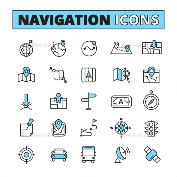 Map Navigation Outlined Icons Set - Abstract Icons