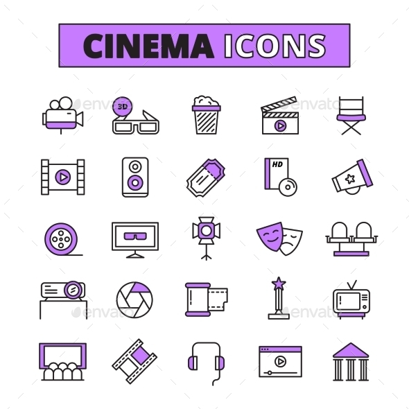 Cinema Symbols Outlined Icons Set - Abstract Icons