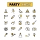 Party Pictograms Oitlined Icons Set