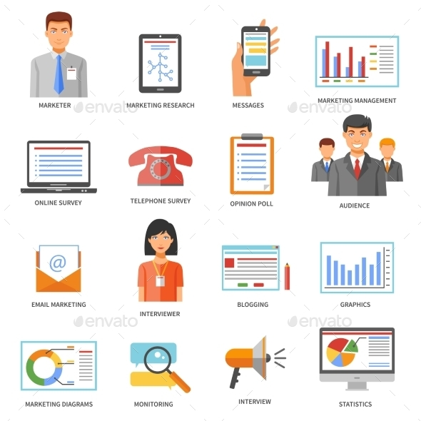 Marketing Colored Icons - Business Icons