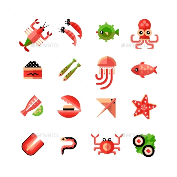 Seafood Isolated Icon Set - Food Objects