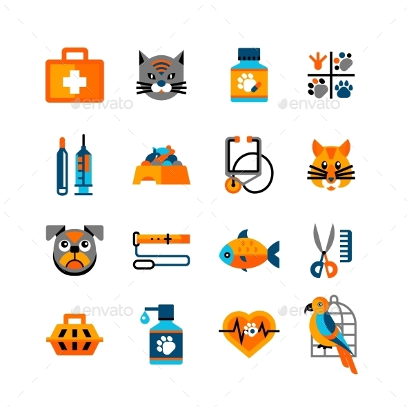 Veterinary Icons Set With Pets - Animals Characters