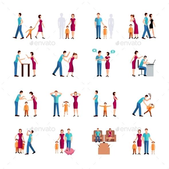 Family Problems Icons - Decorative Symbols Decorative