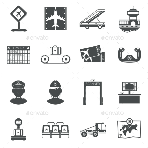 Airport Black Icons Set - Miscellaneous Icons
