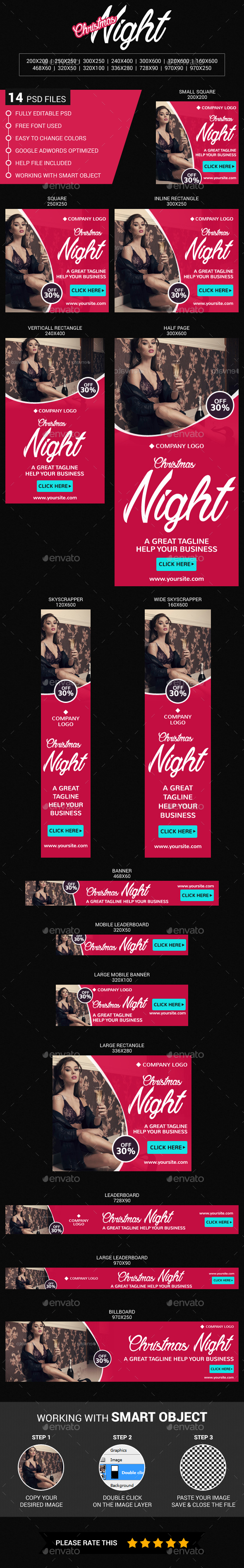 Christmas Night - Banners & Ads Web Elements