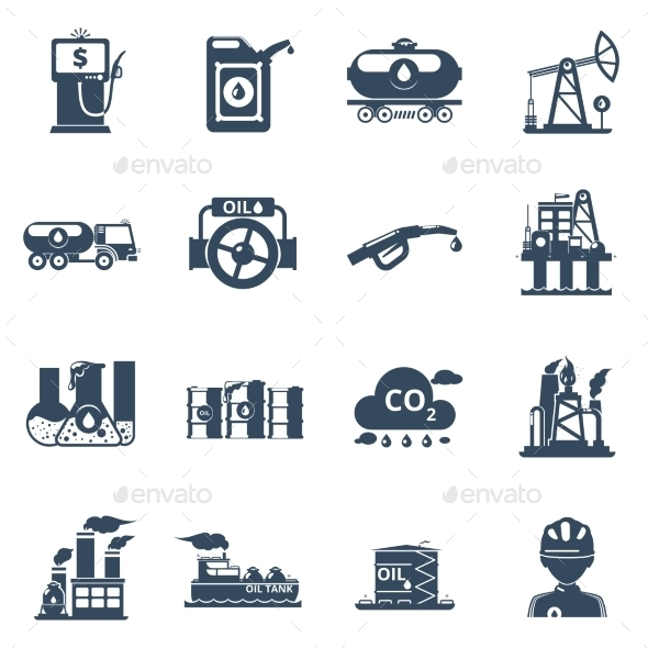 Oil Industry Icons Set - Industries Business